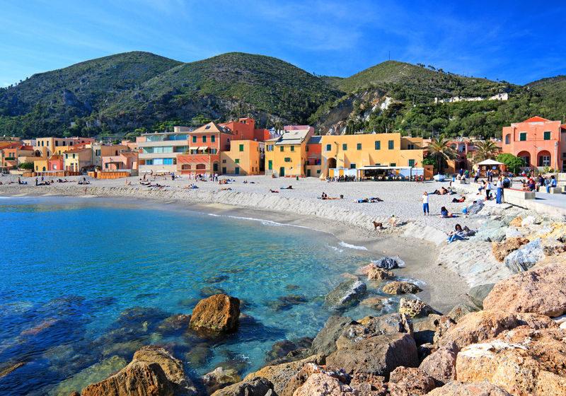 Strand von Varigotti, Provinz Savona, Ligurien, Italien